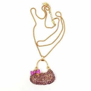 Betsey Johnson Pink Rhinestone Bow Purse Necklace